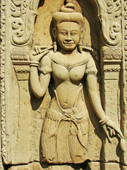 Wall bar-relief, Baphuon temple, Angkor Thom, Cambodia