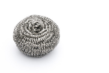 steel wool dishwashing on white with copy space