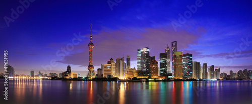 Tuinposter China Lujiazui Finance&Trade Zone of Shanghai landmark skyline at dawn