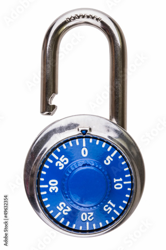 Open combination lock with blue dial