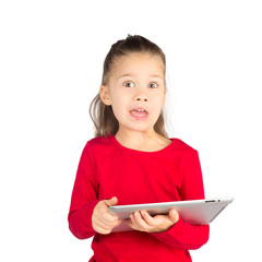 Funny Little Girl with Tablet Computer
