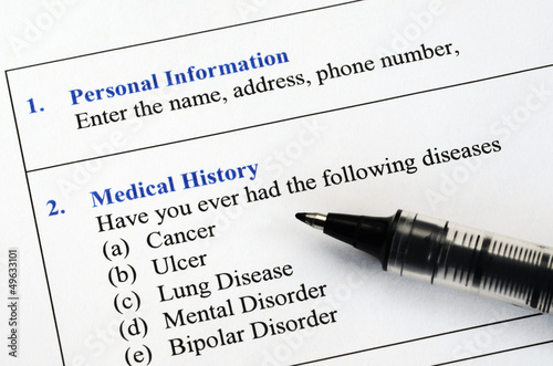 Filling the medical history questionnaire