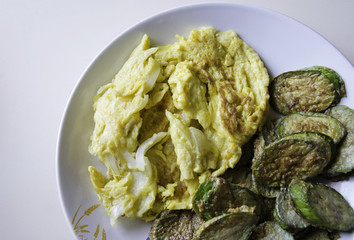 Omelet with fried eggplants