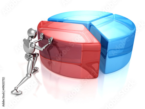 3d man person with big business pie graph