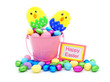 Happy Easter tag and pink pail filled with colorful candy