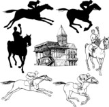Silhouettes and graphic sketches of horses and jockeys, vintage