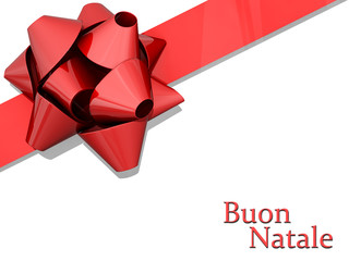 Red Bow Ribbon Merry Christmas Italian Language