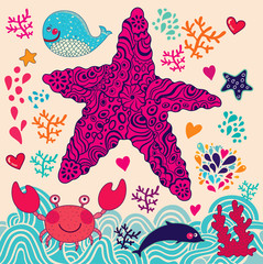 Underwater world. Vector cartoon illustration
