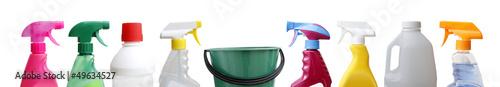 Leinwandbild Motiv Cleaning bottles