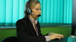 Woman work in Call center, hotline, helpdesk