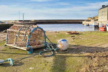 Lobster pot at Burghead harbour, Scotland