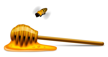 Honey stick with a bee
