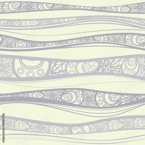Seamless pattern with decorated waves. Vector.