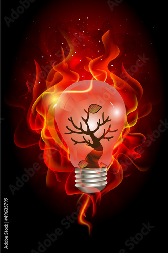 Green house effect concept, wildfire inside the light bulb