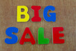 Big sale written with colorful letters
