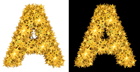 Gold shiny stars letter A