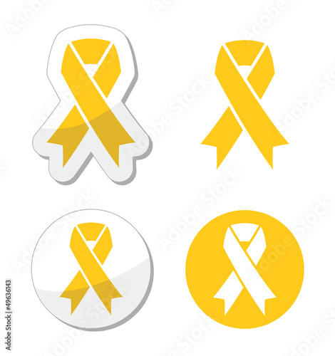 Yellow ribbon - support for troops, suicice prevention symbol