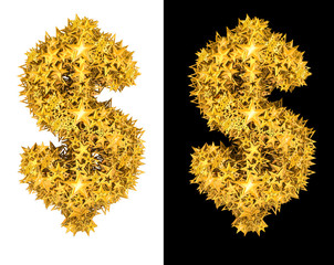 Gold shiny stars dollar sign