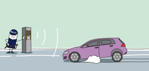 Voiture qui freine devant un radar