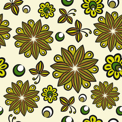 Seamless floral hand-drawn pattern