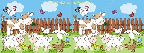 Foto op Canvas Boerderij farm-10 differences