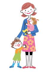 お母さんと2人の子供たち