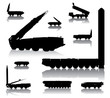 Missile launcher  silhouettes set. Vector on separate layers