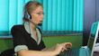 Panoramic of woman working at Call center, hotline, helpdesk,