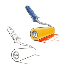 roller brush vector illustration isolated on white background