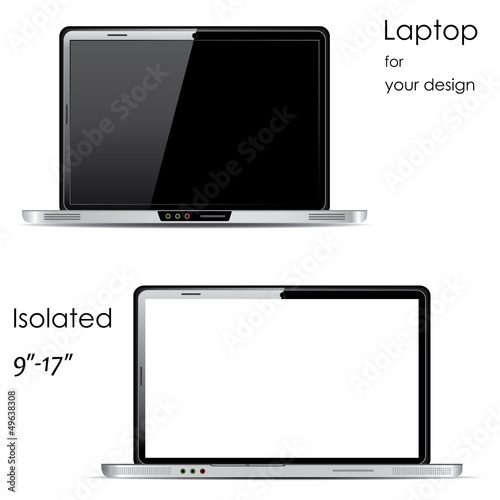 Vector Laptops with blank and black screens, isolated