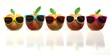 five apples with colourful sunglasses