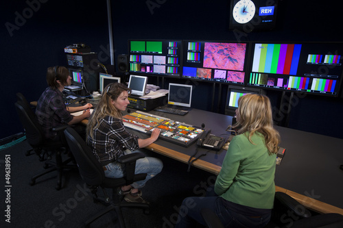 Crew in TV Broadcast Gallery