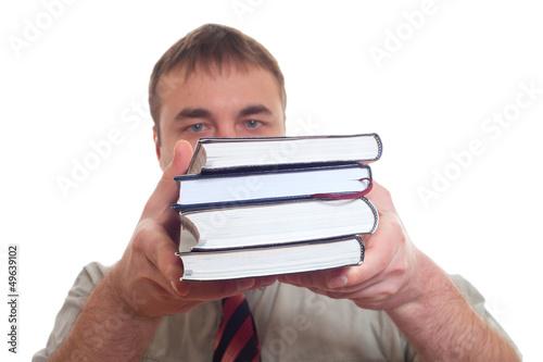 Man holding books.