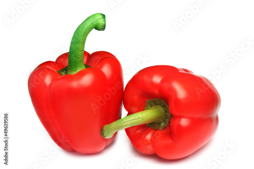 Red bell pepper isolated on white
