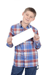 cute boy standing with empty horizontal blank