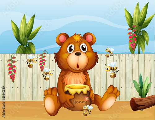 Deurstickers Beren A bear with five bees