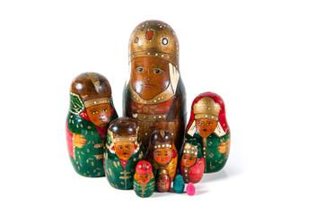 Antique matrioshka doll family