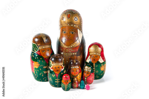 Antique matrioshka doll family