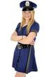 Junge Frau in Polizeikostüm lacht