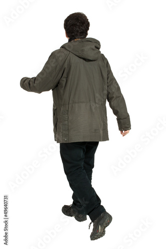 guy walks on white background