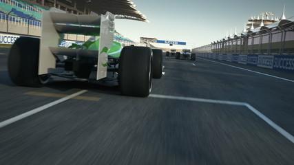formula one racecars crossing finishing line - POV