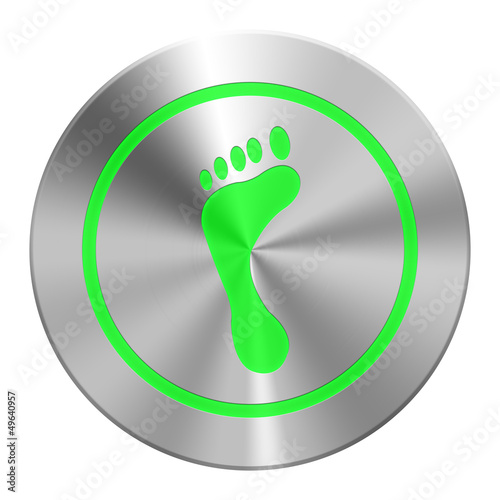 Edelstahl  Fussabdruck Button Grün