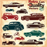 Retro cars icons set 1