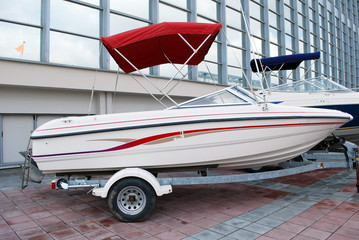 fast motor boat on trailer