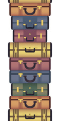 Vintage suitcases horizontal seamless pattern