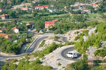 Minibus On The Road Around Razem, Albania