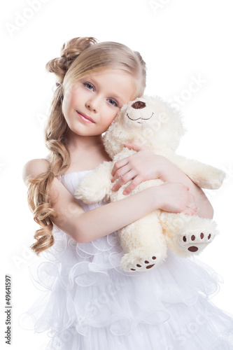 Image of beautiful girl with teddy bear