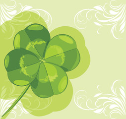 Clover leaf on the ornamental background