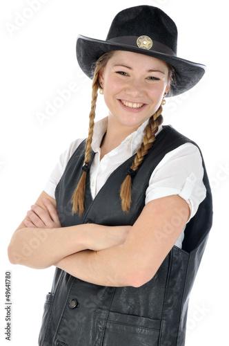 junge frau in cowboy kost m lacht stockfotos und lizenzfreie bilder auf bild. Black Bedroom Furniture Sets. Home Design Ideas