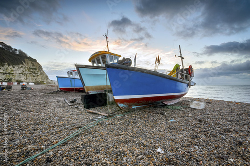 Fishing boats on the beach at Beer in Devon